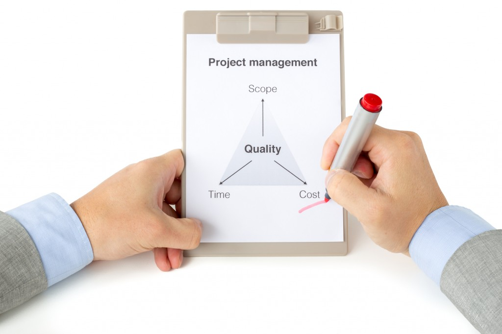 Project management triangle with two hands